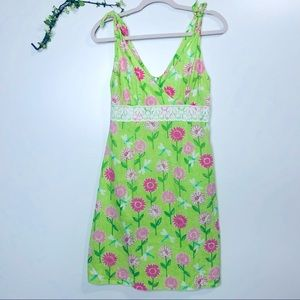 Lilly Pulitzer Green Daisy Linen Lace Dress Pink